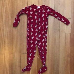 Holiday Footed Pajamas Reindeer 2T-  EUC
